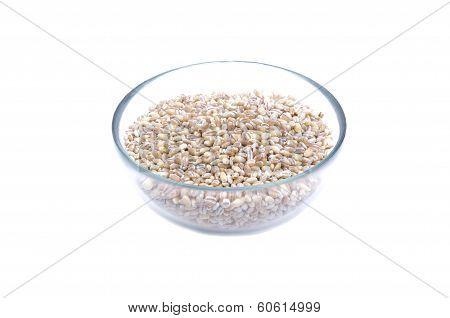 Pearl barley in glass jar macro close up