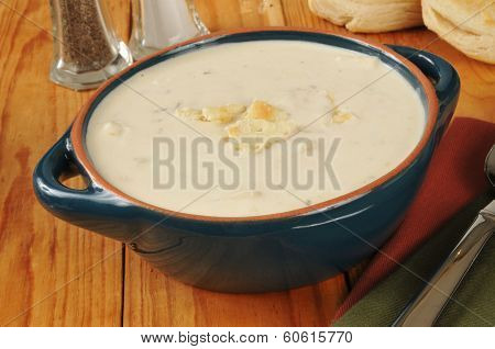 Clam Chowder And Biscuits