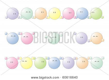 Wave, happy vector emoticons, single, pair and group isolated on white background