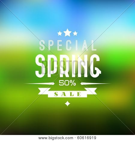 Spring sale vector retro poster with abstract blurred background