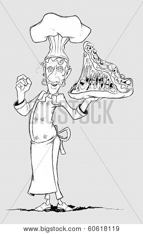 Chef with pizza monster in hand. Freehand drawing