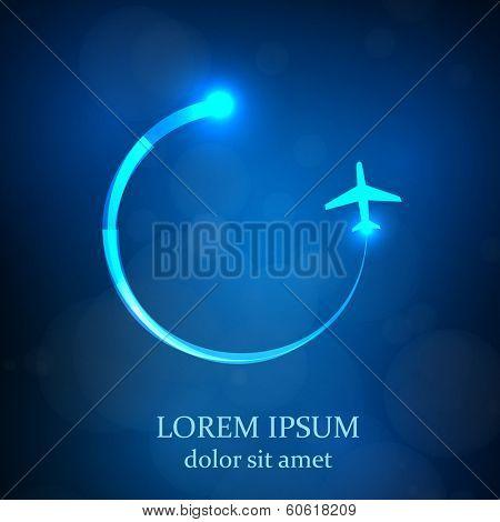 airplane light symbol, easy all editable