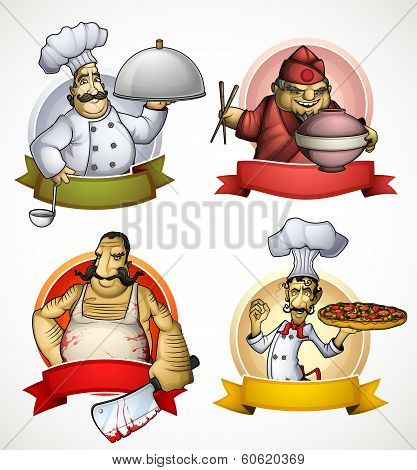 Set of four chefs in the form of sign