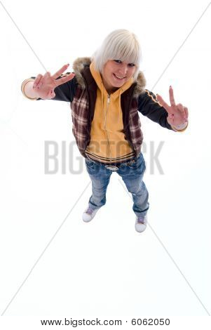 Positive Fun Blonde Girl. Isolated On White Background.