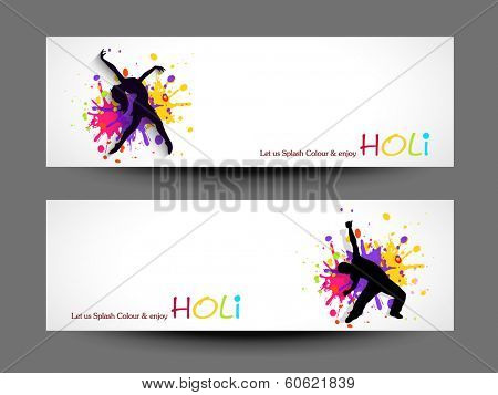 Beautiful header or banner set design with silhouette of a young girl and boy in dancing pose on shiny colourful background.