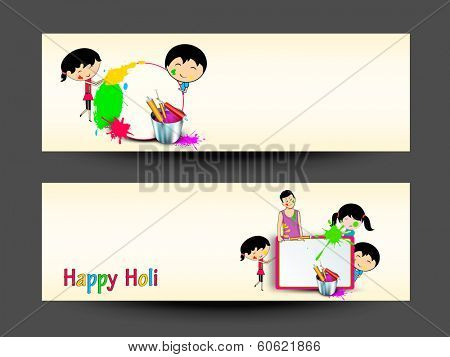 Beautiful header or banner set design with cute little kids playing with colours.