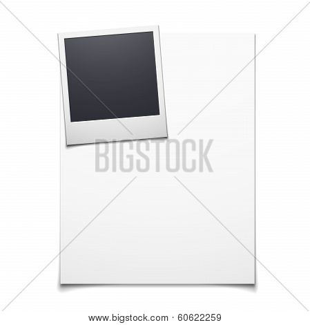 Blank paper and polaroid photo frame