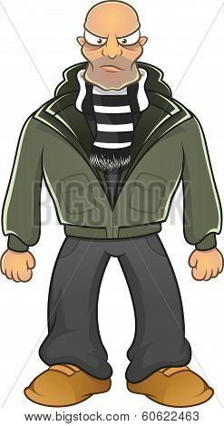 Cartoon angry hooligan isolated