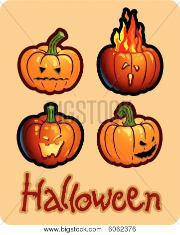 halloween's drawing - four pumpkin heads of Jack-O-Lantern ; one is on fire