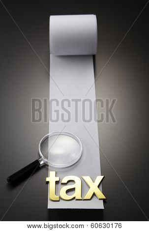 tax alphabet on the adding machine tape
