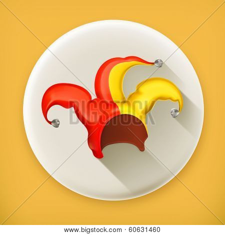 Jester cap long shadow vector icon
