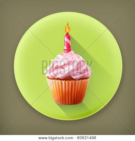 Festive cupcake with candle, long shadow vector icon