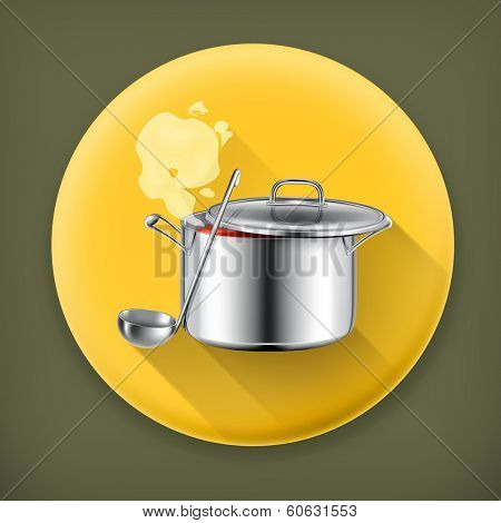 Hot soup long shadow vector icon
