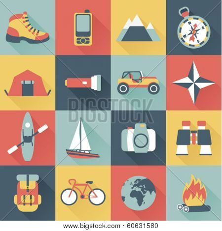 set of flat adventure traveling icons