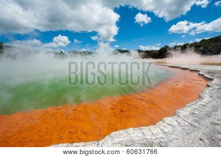 Unique steaming spring champagne pool in Wai-O-Tapu geothermal area, Rotorua, New Zealand