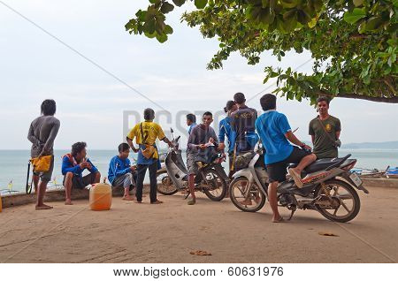 Unidentified Local People On The Beach At Morning