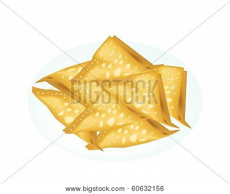 Deep Fried Wonton In A White Plate