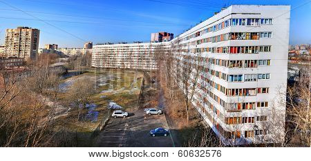 Russia, Saint-petersburg, Restored Apartment White Block House, Nine Storeys.