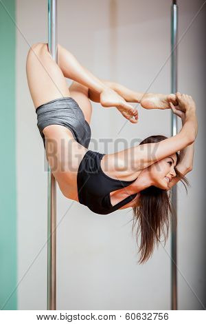 Happy pole fitness student