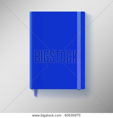 Blue copybook with elastic band and bookmark.
