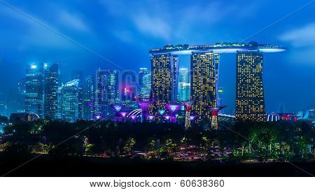 Night Landscape With Garden By The Bay And Marina Bay Sands Hotel In Singapore