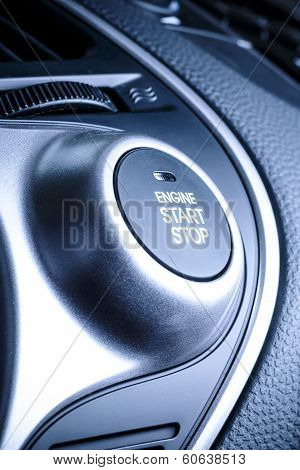 Start/stop Ignition Button In Car, Vehicle.