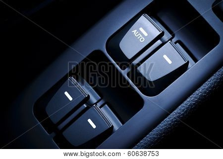 Car Driver's And Passenger's Front And Rear Windows Switches.