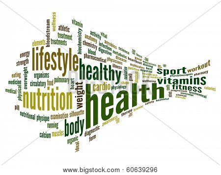 High resolution concept or conceptual 3D abstract health word cloud or wordcloud on white background