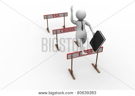 3d man jumping over a hurdle obstacle titled tax, crisis, loss