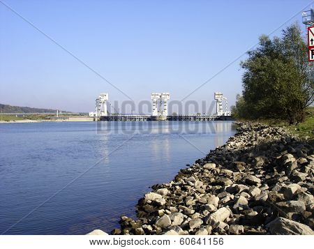 Stuw Driel, The Weir In River Rhine (nederrijn, The Netherlands)