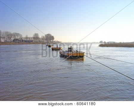 Beaters Of Cable Anchor Of Ferry In River Rhine