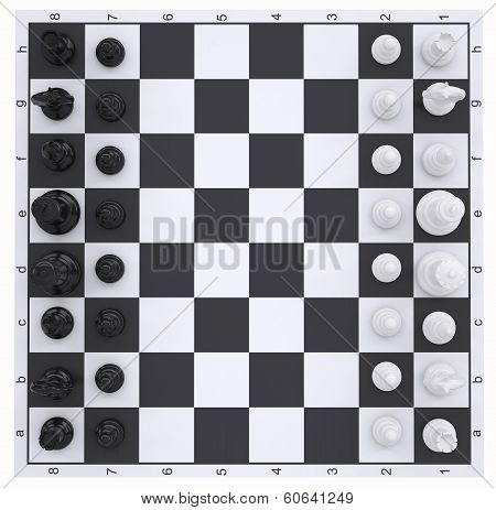 Chess on the chessboard. Top view