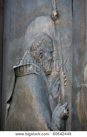 Cracow Lagiewniki - The centre of Pope John Paul II. Door from bronze to the church