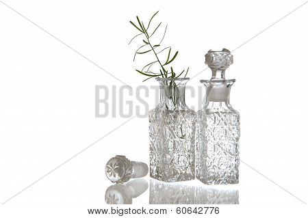 Two Decorative Glass Oil Carafe