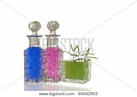 Pink Blue Green Glass Flagons