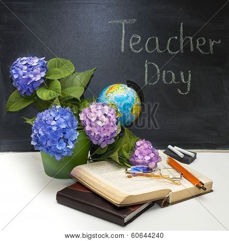 Flowers hydrangeas and school subjects.
