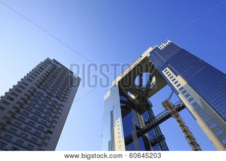 Blue Sky  And  Umeda Sky Building In Osaka Japan