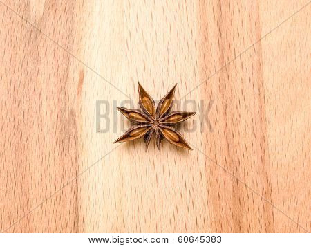 Star Anise On A Wooden Background