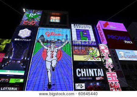 The Famed Advertisements Of Dotonbori  In Osaka Japan