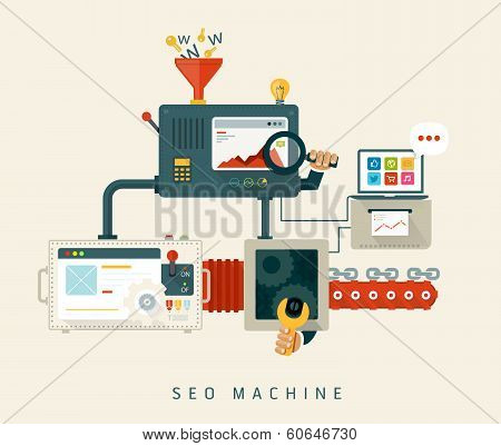 Website SEO machine, process of optimization. Flat style design