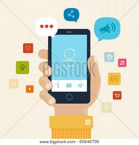 Smartphone apps flat icon design