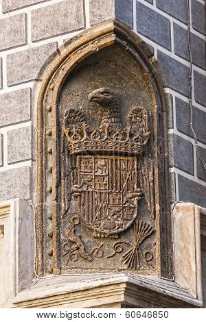 Royal Shield Of Catholic Kings In One Of The Corners Of The Madrasah Of Granada