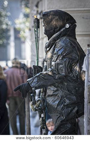 Human Statue In Gran Via Observed By The Wayfarers, Granada, Andalusia, Spain