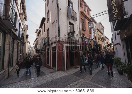 Cross-street Tearooms With Street St, Genil, Granada, Andalusia, Spain