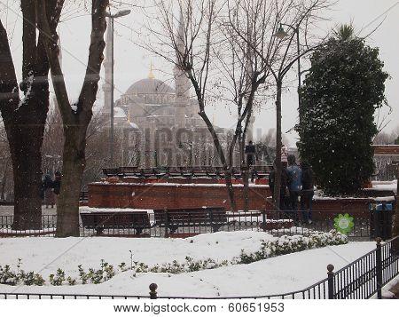 Snowy day in Istanbul