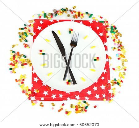 Medication schedule and meals. Conceptual photo. Isolated on white