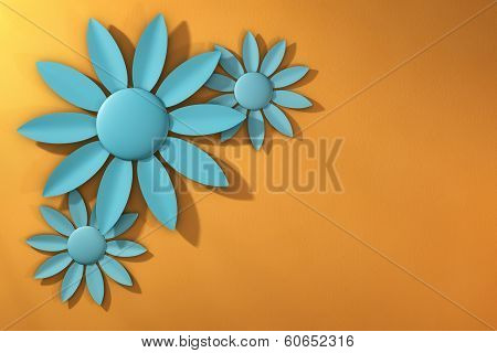 Trio Of Blue Spring Flowers Over Textured Yellow Orange Background