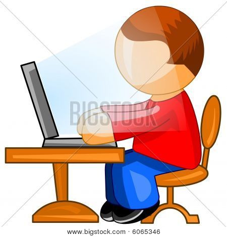Man working on computer. Web icon.