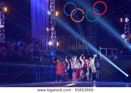 MOSCOW, RUSSIA - FEBRUARY 24, 2014: Russian skaters arrived from Sochi to Luzhniki on the gala concert of Olympic champions in figure skating