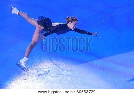 MOSCOW, RUSSIA - FEBRUARY 24, 2014: Ekaterina Gordeeva in action during Gala concert of Olympic champions in figure skating in Luzhniki